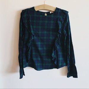 Anthropologie Love Notes plaid ruffle top
